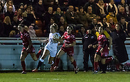 Sophie Tandy breaks on the wing, Army Women v U20 England Women at the Army Rugby Stadium, Aldershot, England, on 16th February 2017. Final score 15-38.