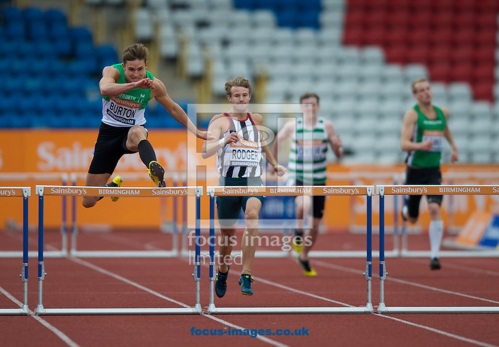 Tom Burton wins his heat in the mens 400 metre hurdles during the Sainsburys British Athletics at Alexander Stadium, Birmingham<br /> Picture by Alan Stanford/Focus Images Ltd +44 7915 056117<br /> 27/06/2014