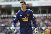 Hull goalkeeper Eldin Jakupovic during the Sky Bet Championship play-off first leg match between Derby County and Hull City at the iPro Stadium, Derby, England on 14 May 2016. Photo by Aaron  Lupton.