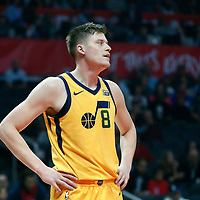 30 November 2017: Utah Jazz forward Jonas Jerebko (8) is seen during the Utah Jazz 126-107 victory over the LA Clippers, at the Staples Center, Los Angeles, California, USA.