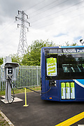 An Ecolink zero emissions bus charging at the bus depot in Nottingham, Nottinghamshire, United Kingdom.  (photo by Andrew Aitchison / In pictures via Getty Images)