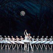 The St Petersburg Ballet Theatre performing SWAN LAKE at The Coliseum London UK  on 22.08.2018 Irina Kolesnikova and Denis Rodin with Members of the Company