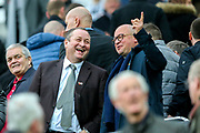 Newcastle United owner Mike Ashley and Newcastle United managing director Lee Charnley share a joke ahead of the Premier League match between Newcastle United and Watford at St. James's Park, Newcastle, England on 3 November 2018.