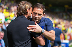 Norwich City manager Daniel Farke and Chelsea manager Frank Lampard embrace before kick off - Mandatory by-line: Phil Chaplin/JMP - 24/08/2019 - FOOTBALL - Carrow Road - Norwich, England - Norwich City v Chelsea - Premier League