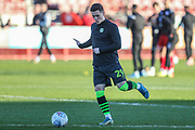 Forest Green Rovers Jack Aitchison(29), on loan from Celtic warming up during the EFL Sky Bet League 2 match between Crawley Town and Forest Green Rovers at The People's Pension Stadium, Crawley, England on 4 January 2020.