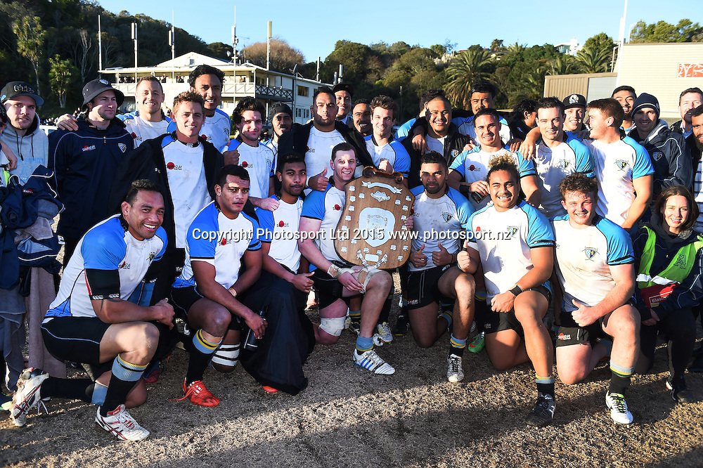 Grammar TEC celebrate winning the Alan McEvoy Trophy after defeating Pakuranga. Auckland Premier Club Rugby. Alan McEvoy Memorial Shield. Auckland, New Zealand. Saturday 11 July 2015. Copyright Photo: Andrew Cornaga / www.Photosport.nz