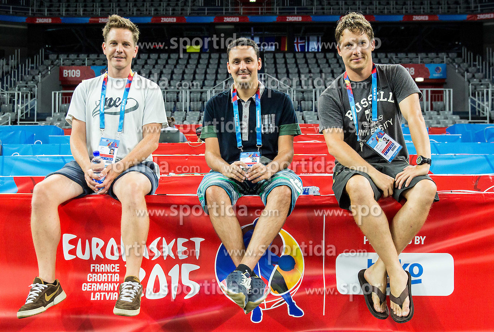 Journalists Jaka Lopatic and Martin Pavcnik and photographer Vid Ponikvar after the practice session of Slovenia National Basketball Team 1 day prior to the FIBA Europe Eurobasket 2015, on September 4, 2015, in Arena Zagreb, Croatia. Photo by Vid Ponikvar / Sportida