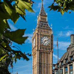 The Big Ben tower with the Great Bell of the clock at the north end of the Palace of Westminster in London, UK