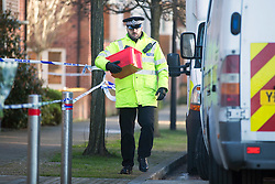 © Licensed to London News Pictures. 03/02/2016. Allerton Bywater UK. A police investigation is still underway at a property on Beeston Way in Allerton Bywater after the bodies of two children & a woman were found at the property. Photo credit: Andrew McCaren/LNP