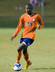 Virginia Cavaliers midfielder Tony Tchani (23) in action against SMU.  The #18 ranked Virginia Cavaliers fell to the #14 ranked Southern Methodist Mustangs 3-1 in NCAA men's soccer at Klockner Stadium on the Grounds of the University of Virginia in Charlottesville, VA on August 31, 2008.