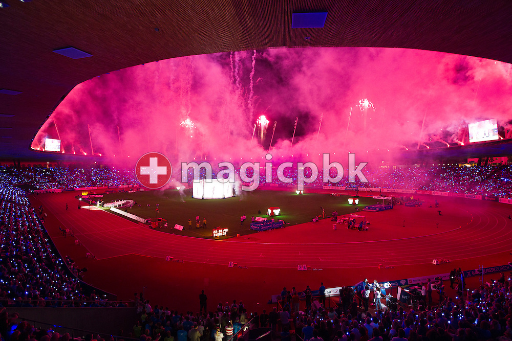 Fireworks explode at the Closing Ceremony of the IAAF Diamond League meeting at the Letzigrund Stadium in Zurich, Switzerland, Thursday, Aug. 19, 2010. (Photo by Patrick B. Kraemer / MAGICPBK)