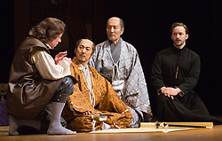 © Licensed to London News Pictures. 31/01/2013. London, England. L-R: Stephen Boxer as Anjin/William Adams, Masachika Ichimura as Shogun, Katsuya Kobayashi as Masazumi Honda and Sam Marks as Antonio. ANJIN, The Shogun and the English Samurai opens at Sadler's Wells Theatre with a run to 9 February 2013. With Masachika Ichimura as the Shogun Ieyasu Tokugawa and Stephen Boxer as William Adams/Anjin. William Adams, known in Japanese as Anjin, was an English maritime pilot who is believed to be the first Englishman to ever reach Japan. His story is brought to the stage in a new play directed Director Gregory Doran, written by Mike Poulton with Shoichiro Kawai. Photo credit: Bettina Strenske/LNP