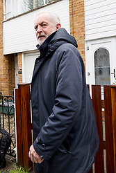 © Licensed to London News Pictures. 28/04/2018. London, UK. Labour Leader JEREMY CORBYN leaves his home on Saturday April 28, 2018. A Sunday Times newspaper investigation has found that Russian Twitter 'bots' attempted to influence election by supporting Jeremy Corbyn. Photo credit: Vickie Flores/LNP