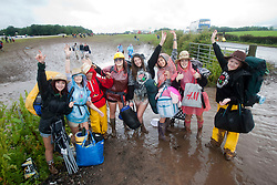 Campers from Newcastle head home after the weekend..T in the Park on Monday 11th July 2011. T in the Park 2011 music festival takes place from 7-10th July 2011 in Balado, Fife, Scotland..©Pic : Michael Schofield.