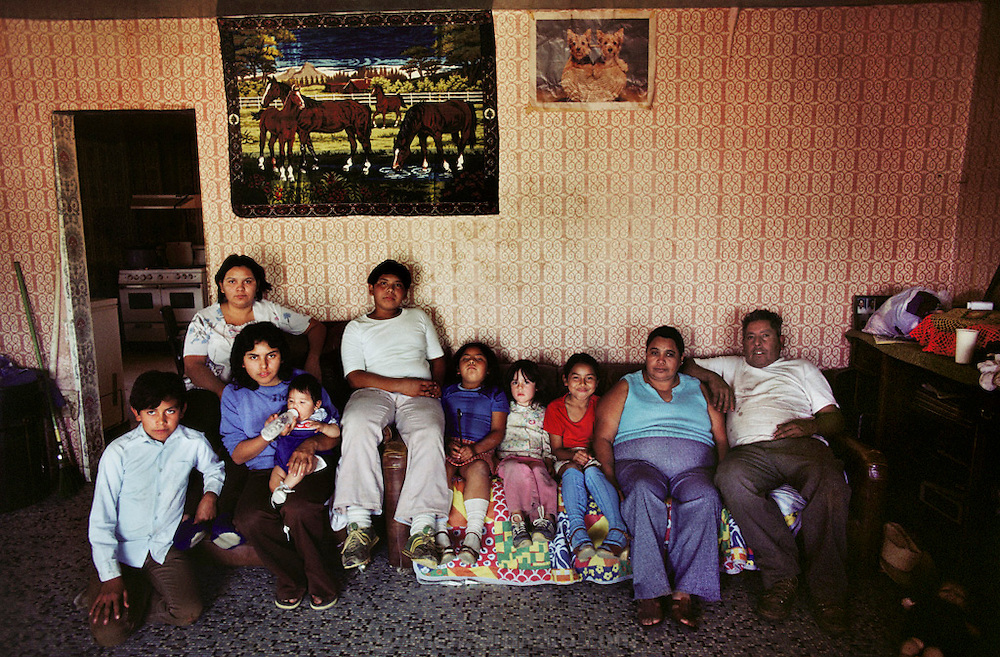 Almanza family at home in Exeter, California, USA. Farmworkers.