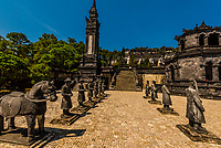 The Tomb of Khai Dinh is located in Chau Chu mountain near Hue in Vietnam. It was built for Khai Dinh, the twelfth Emperor of the Nguyen dynasty. It was built from 1920 to 1931 taking 11 years to complete. The tomb is a blend of Western and Eastern architecture. It is located on a steep hill outside of Hue in Central Vietnam.