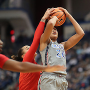 HARTFORD, CONNECTICUT- NOVEMBER 19: Napheesa Collier #24 of the Connecticut Huskies has her shot blocked by Blair Watson #22 of the Maryland Terrapins during the the UConn Huskies Vs Maryland Terrapins, NCAA Women's Basketball game at the XL Center, Hartford, Connecticut. November 19th, 2017 (Photo by Tim Clayton/Corbis via Getty Images)