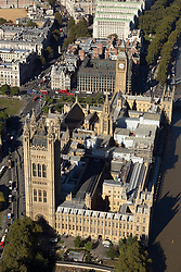© Licensed to London News Pictures. 26/04/2016. London, UK. The Palace of Westminster is covered in scaffolding as repair work begins to fix the crumbling building. The £4bn restoration will see Department of Health's headquarters to host MPs, with Lords moving to the QEII conference centre. Photo credit: Martin Apps/LNP