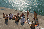 India. Pilgrims on the steps of the Banganga Tank, Mumbai.