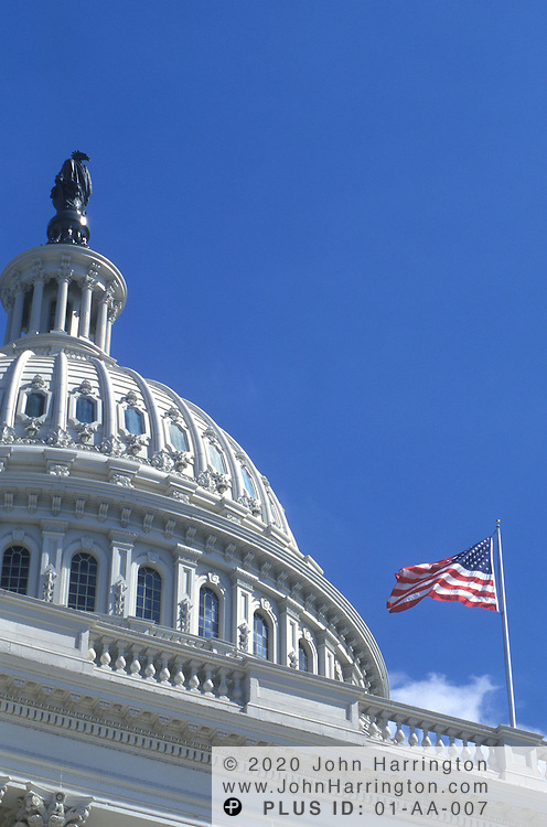 """US CAPITOL BUILDING WITH NEWLY REFURBISHED """"STATUE OF FREEDOM"""" ON TOP."""