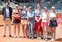 Hungarian Timea Babos, Czech Andrea Hlavackova, Manolo Santana, Taiwanese Chan Yung-jan and swiss Martina Hingis during Mutua Madrid Open Sub16 Tennis 2017 at Caja Magica in Madrid, May 13, 2017. Spain.<br /> (ALTERPHOTOS/BorjaB.Hojas)