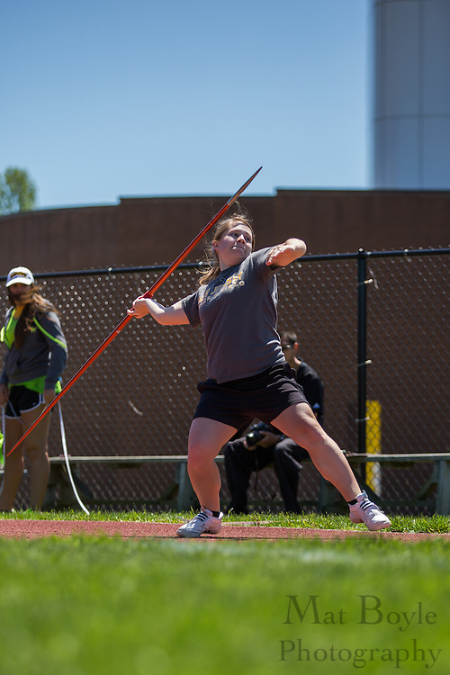 The College of New Jersey's Michele Dey competes in Women's javelin at the NJAC Track and Field Championships at Richard Wacker Stadium on the campus of  Rowan University  in Glassboro, NJ on Saturday May 4, 2013. (photo / Mat Boyle)