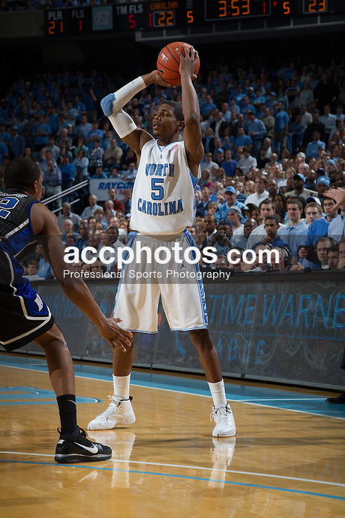 10 February 2010: North Carolina Tar Heels guard Dexter Strickland (5) during a 82-50 loss to the Duke Blue Devils at the Dean E. Smith Center in Chapel Hill, NC.