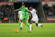 Patrick van Aanholt of Sunderland and Modou Barrow of Swansea during the Barclays Premier League match between Swansea City and Sunderland at the Liberty Stadium, Swansea, Wales on 13 January 2016. Photo by Mark Hawkins.
