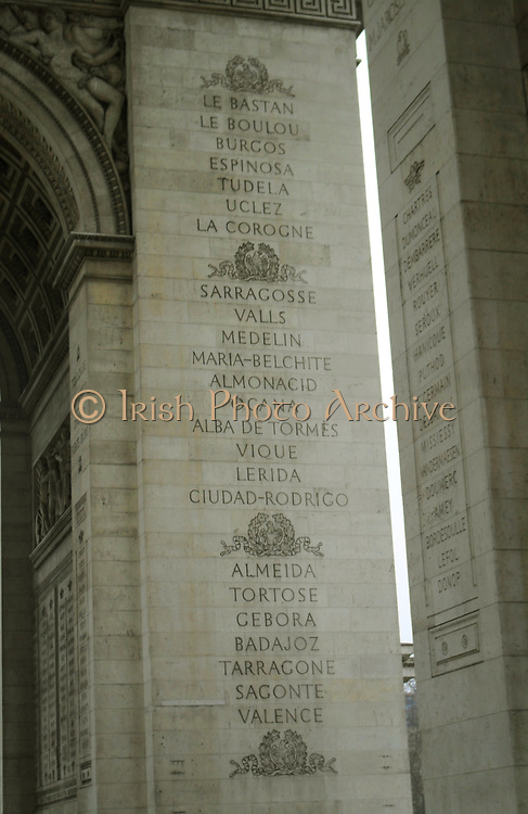 Commemorating the famous battles fought by France. Names carved into the pillars of the Arc de triomphe in Paris