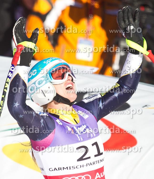 08.02.2011, Kandahar, Garmisch Partenkirchen, GER, FIS Alpin Ski WM 2011, GAP, Lady Super G, im Bild jubel von Julia MANCUSO (USA) nach Platz zwei // Julia MANCUSO (USA) celebrates second Place during Women Super G, Fis Alpine Ski World Championships in Garmisch Partenkirchen, Germany on 8/2/2011, 2011, EXPA Pictures © 2011, PhotoCredit: EXPA/ J. Feichter