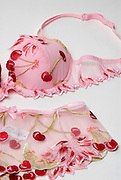 female underwear Bra and Panties with cherry design, on white background