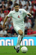 Steven Gerrard in action during the international friendly match between England and Slovenia at Wembley Stadium, London on the 5th September 2009