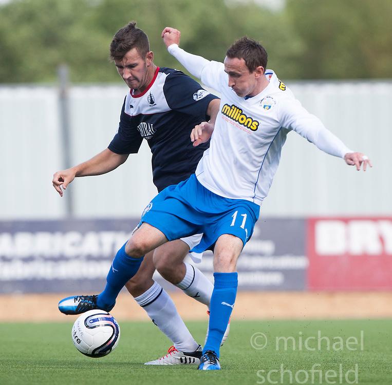 Falkirk's Kieran Duffie and Morton's David O'Brein.<br /> half time : Falkirk 2 v 0 Morton, Scottish Championship 17/8/2013.<br /> &copy;Michael Schofield.