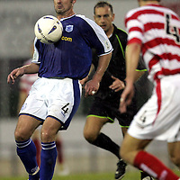 St Johnstone v Hamilton Accies..06.11.04<br />David Hannah controls the ball before his vollied shot on goal<br /><br />Picture by Graeme Hart.<br />Copyright Perthshire Picture Agency<br />Tel: 01738 623350  Mobile: 07990 594431