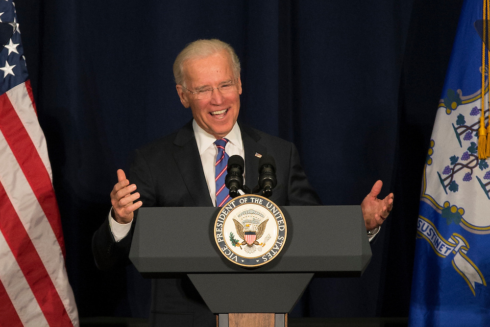 US Vice President Joe Biden speaks at a conference on gun violence in America at Western Connecticut State University in Danbury, CT, 12 miles from the site of the Newtown, CT school shooting in December 2012.
