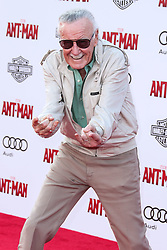 (FILE) Stan Lee Dies At 95. Stan Lee, the legendary writer, editor and publisher of Marvel Comics whose fantabulous but flawed creations made him a real-life superhero to comic book lovers everywhere, has died. He was 95. Lee, who began in the business in 1939 and created or co-created Black Panther, Spider-Man, the X-Men, the Mighty Thor, Iron Man, the Fantastic Four, the Incredible Hulk, Daredevil and Ant-Man, among countless other characters, died early Monday morning at Cedars-Sinai Medical Center in Los Angeles, a family representative told The Hollywood Reporter. HOLLYWOOD, LOS ANGELES, CA, USA - JUNE 29: American comic book writer Stan Lee arrives at the Los Angeles Premiere Of Marvel Studios 'Ant-Man' held at the Dolby Theatre on June 29, 2015 in Hollywood, Los Angeles, California, United States. 29 Jun 2015 Pictured: Stan Lee. Photo credit: Xavier Collin/Image Press Agency/MEGA TheMegaAgency.com +1 888 505 6342