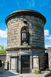 Tomb of David Hume in Old Calton cemetery in Edinburgh, Scotland, United Kingdom