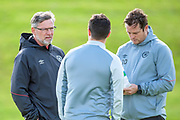 Heart of Midlothian manager Craig Levein (dark jacket) and coach Jon Daly at the Oriam Sports Performance Centre, Edinburgh on 13 September 2018, ahead of the away match against Motherwell.