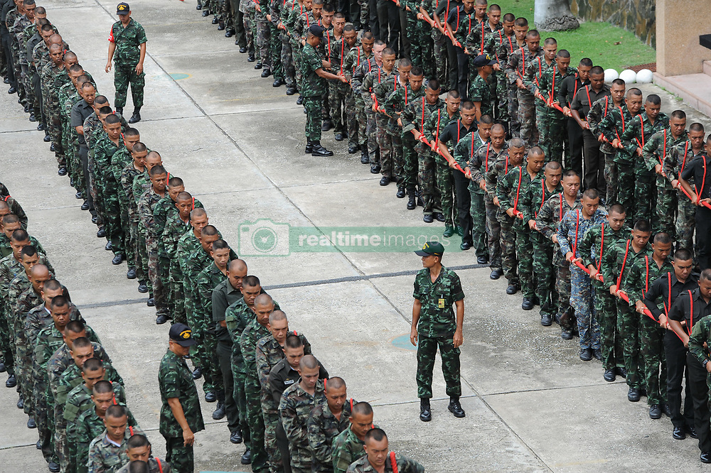 July 4, 2017 - Bangkok, Thailand - Soldiers participate in a training session to pull the royal chariot to prepare for late King Bhumibol Adulyadej's funeral in Bangkok, Thailand. (Credit Image: © Rachen Sageamsak/Xinhua via ZUMA Wire)