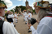 The Thaxted Morris Weekend, Thaxted and surrounding villages, Thaxted, Essex, England. 30 May 2015<br /> Seen here: Perth side from Australia dancing to music played by Foresters at the Horse and Groom at Cornish Hall End, north Essex.<br /> 21 teams or 'sides' of Morris Men including teams from Holland , Denmak and Australia danced through the villages such as Finchingfield in rural north Essex during the start of the 345th meeting of the member clubs of the Morris Ring and the 82nd meeting hosted by the Thaxted Morris Men.