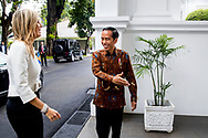13-2-2018 JAKARTA - Queen Maxima of the Netherlands talks to Indonesian President Joko Widodo during their meeting at the Presidential Palace in Jakarta, Indonesia, 13 February 2018. Queen Maxima is visiting Jakarta for three days as part of her role as the United Nations Secretary-General's Special Advocate for Inclusive Finance for Development. ROBIN UTRECHT