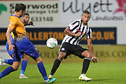 Reece Brown makes a block during the EFL Cup match between Mansfield Town and Rochdale at the One Call Stadium, Mansfield, England on 8 August 2017. Photo by Daniel Youngs.