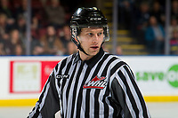 KELOWNA, CANADA - FEBRUARY 23:  Linesman Dave McMahon stands on the ice at the Kelowna Rockets against the Kamloops Blazers on February 23, 2019 at Prospera Place in Kelowna, British Columbia, Canada.  (Photo by Marissa Baecker/Shoot the Breeze)