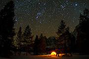 Winter camp under the Milky way, Grand Teton National Park, Wyoming USA