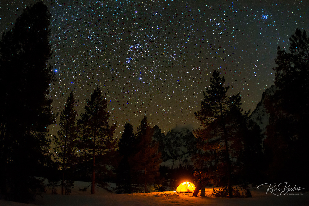 Winter camp under the Milky way, Grand Teton National Park, Wyoming USA
