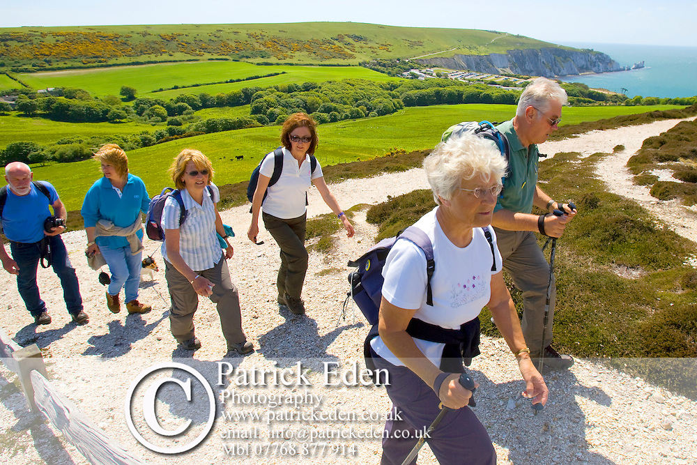Walkers, Ramblers, Headon Warren, Needles, Isle of Wight, England, UK Photographs of the Isle of Wight by photographer Patrick Eden photography photograph canvas canvases