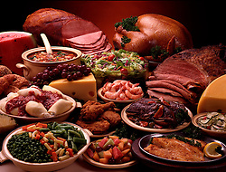 Typical Lancaster PA. food buffet. Sliced honey ham watermelon baked beans swiss cheese shrimp shells peas carrots green beans roast beef restaurant hotel tour tourist tourism travel party holiday celebration diner deli delicatessen party lifestyle fried chicken legs breasts filet of fish sole