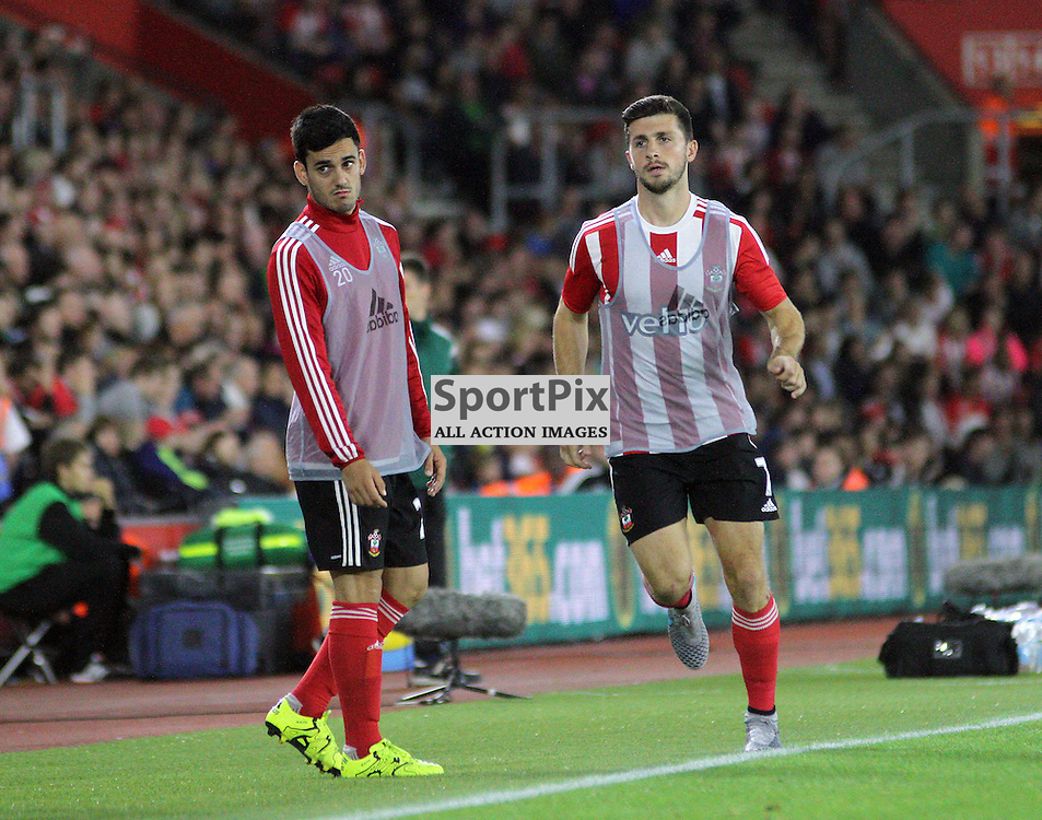 Shane long warms up in his match shirt as he prepares to come on During Southampton FC vs Fc Midtjylland on Thursday the 20th August 2015.