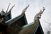 """BLUE MOUNDS—November 7, 2014: The view of the Norway Building, with dragon-adorned roof and modeled after a 12th Century Norwegian Church or """"stavkirke"""" at """"Little Norway"""".<br /> <br /> Ben Brewer for the New York Times"""