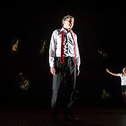 October 4, 2012 - Brooklyn, NY : Serge Maggiani, left, and Céline Carrère perform in a technical rehearsal for the Théâtre de la Ville's production of French-Romanian playwright Eugène Ionesco's 1959 play 'Rhinocéros' at BAM in Brooklyn on Thursday afternoon. The traveling production will perform from Oct. 4-6, 2012. CREDIT: Karsten Moran for The New York Times